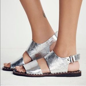 Free People x Jeffrey Campbell silver sandals